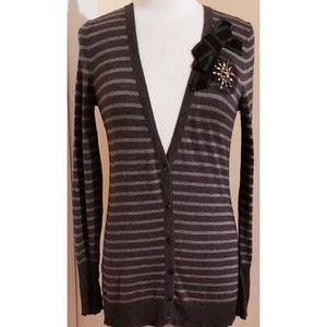 Loft Gray Striped Bow Long Cardigan Sweater